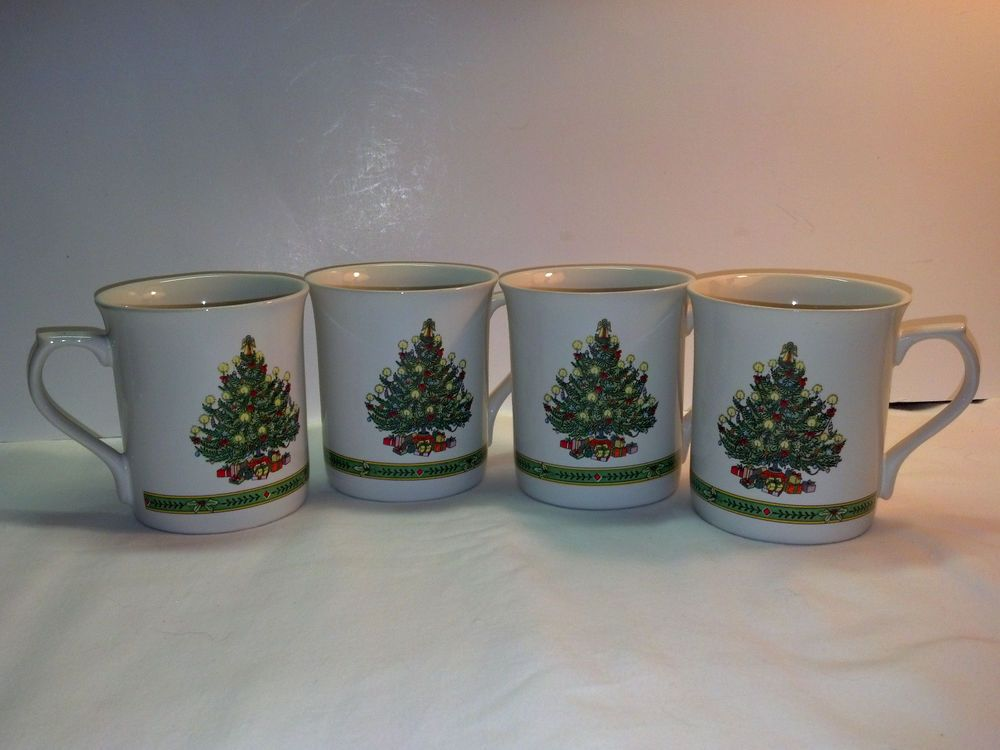 Four Russ Berrie Vintage Christmas Tree Cup/Mugs Candles Ribbons Gifts-Excellent #RussBerrie
