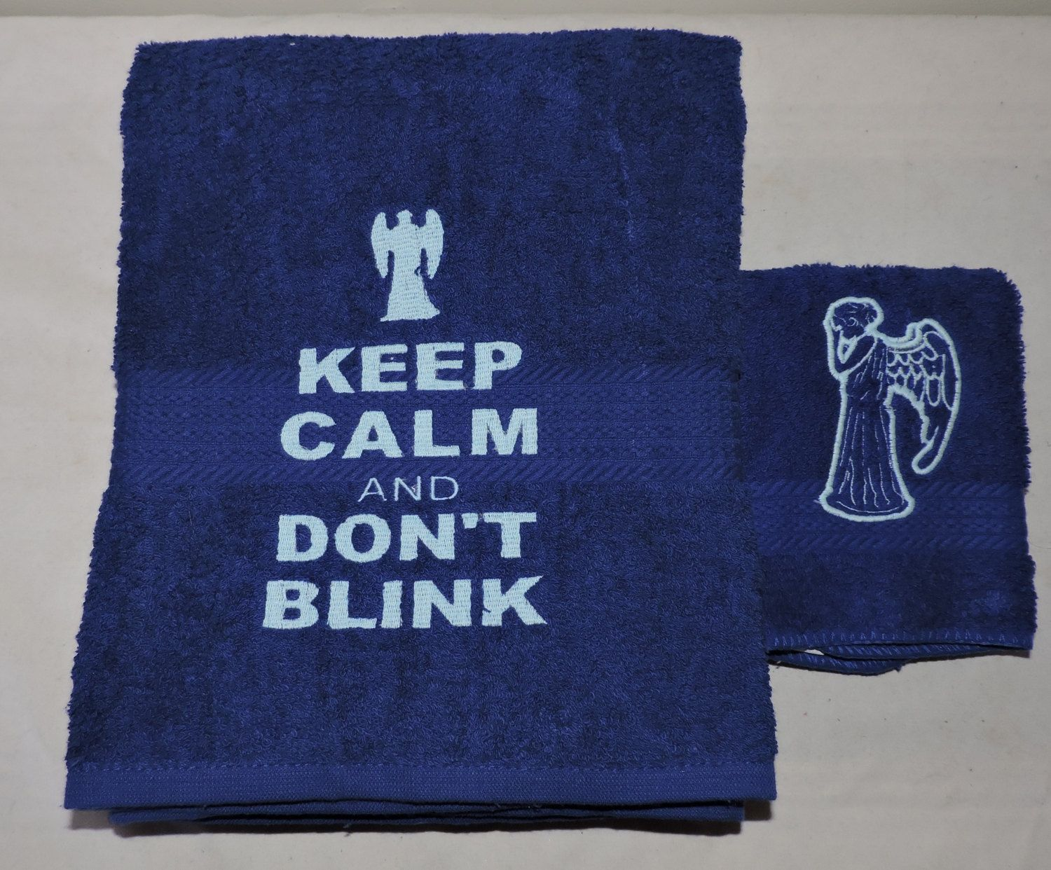 RTS Weeping Angel & Don't Blink Embroidered Bath Towel set Dr Doctor on doctor who tooth burshes, doctor who cyber controller, doctor who bathroom decor, doctor who stationery, doctor who clock, doctor who bathroom ideas, doctor who place mates, doctor who candle holder, doctor who pen holder, doctor who vs daleks, doctor who home decor, doctor who table lamp, doctor who quilt, doctor who furniture, doctor who puzzle, doctor who charger, doctor who themed bathroom, doctor who basket, doctor who umbrella, doctor who jewelry,