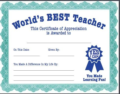 world s best teacher certificate