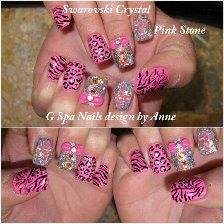 Cheetah Nail Designs | cross, cheetah, diamonds nails | Nails ...