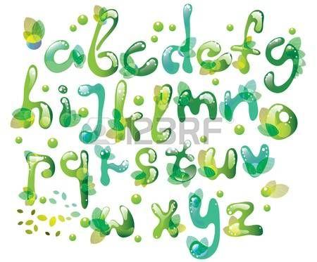Resumen de ABC, el alfabeto verde con hojas, ilustraci n photo ...