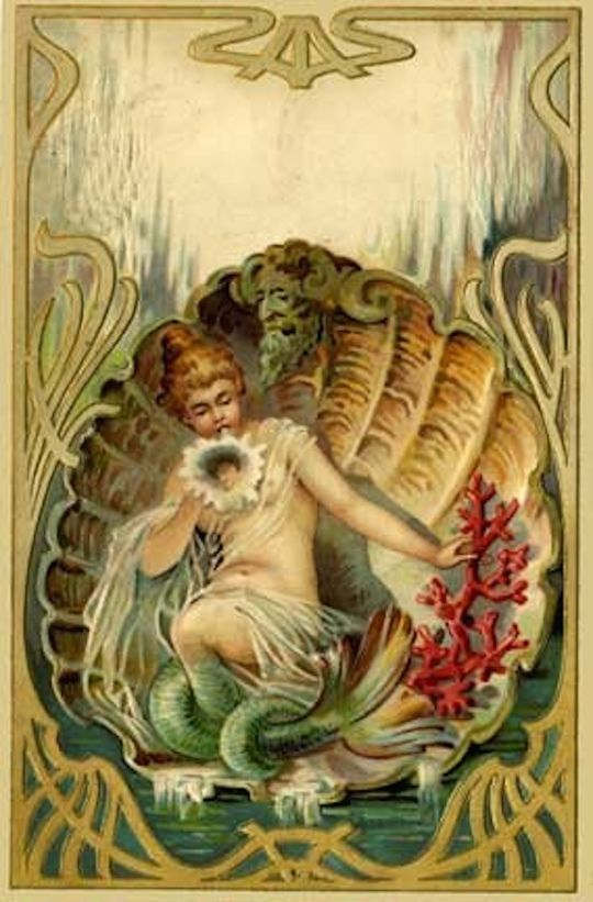 Старинная открытка русалки, небо рисунок ретро