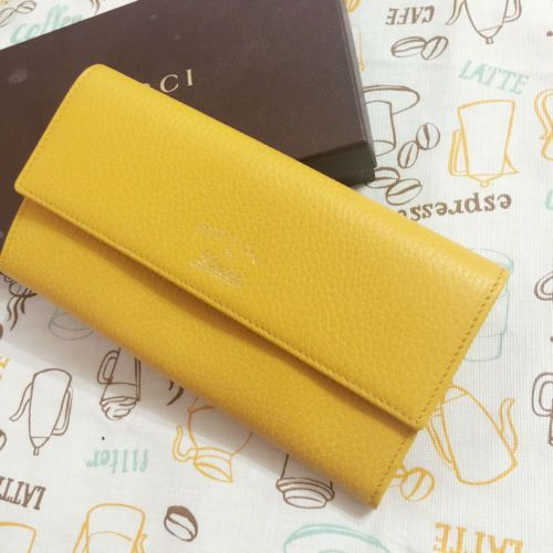 New-Gucci-Yellow-Swing-Leather-Continental-Wallet-w-Trademark-354496-Authentic