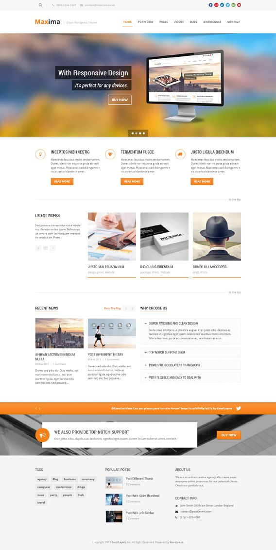 Maxima, WordPress Retina Ready Custom Business Theme