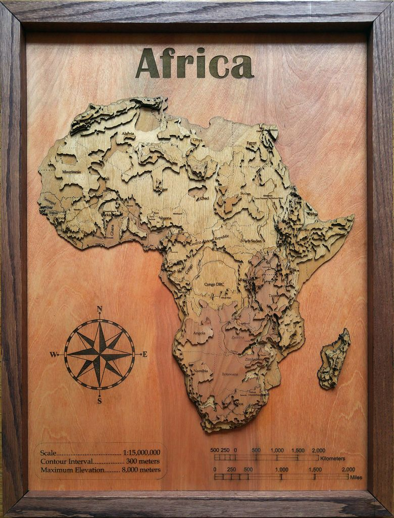 I made a 3D wood topographic map of Africa Wall Art httpimgur