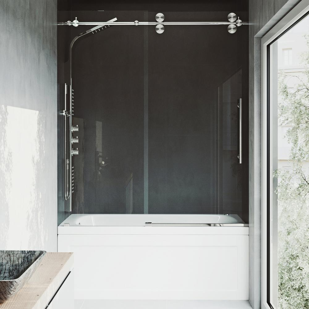 Vigo elan in x in frameless sliding tub door in stainless