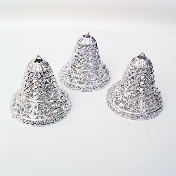 Silver Bells Christmas Decorations Silver Bells Christmas Ornaments Hanging Tree Ornaments 1960S