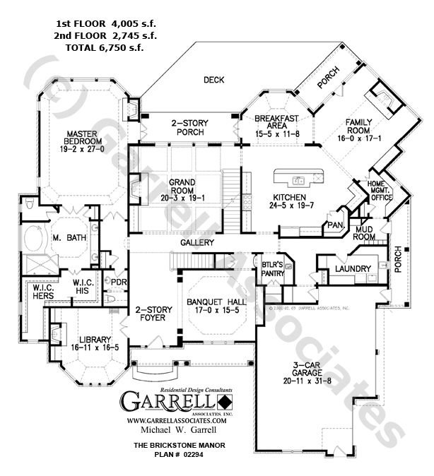 Brickstone manor house plan 02294 1st floor plan for French manor house plans