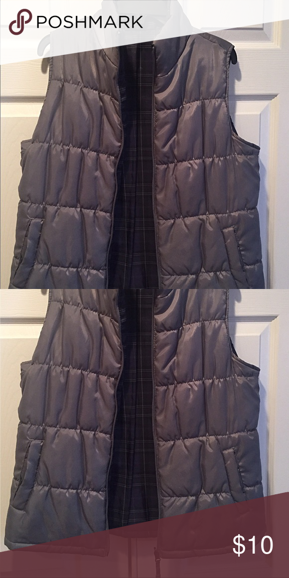 Grey Puffer Vest, Size Large ADORABLE Grey Puffer Vest w/ grey, purple & black lining. Two open pockets. Poly fill - this Vest is more for fashion than for warmth. Ladies' Size Large (12-14). Excellent Condition, from clean smoke-free home. Other