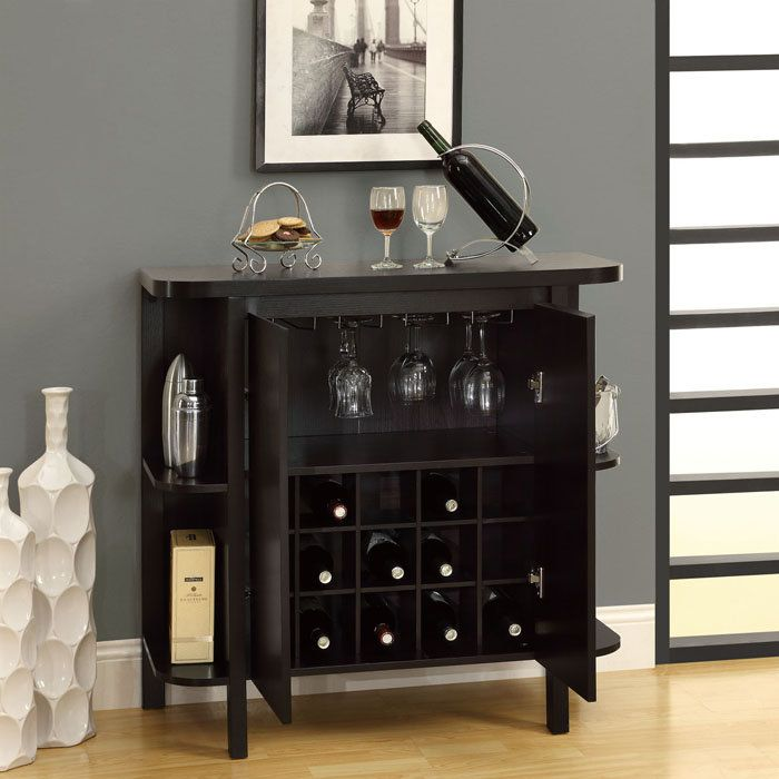 Storage bar wine rack bar unit with bottle and glass storage cabinet at brookstone buy now Home wine bar furniture