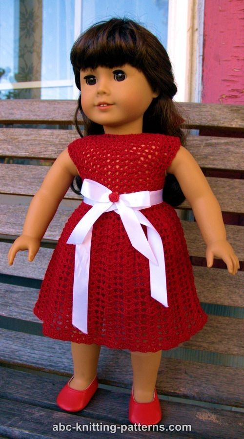 ABC Knitting Patterns - American Girl Doll Christmas Dress with ...