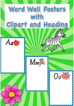 Word Wall Alphabet Posters With Clipart And Heading