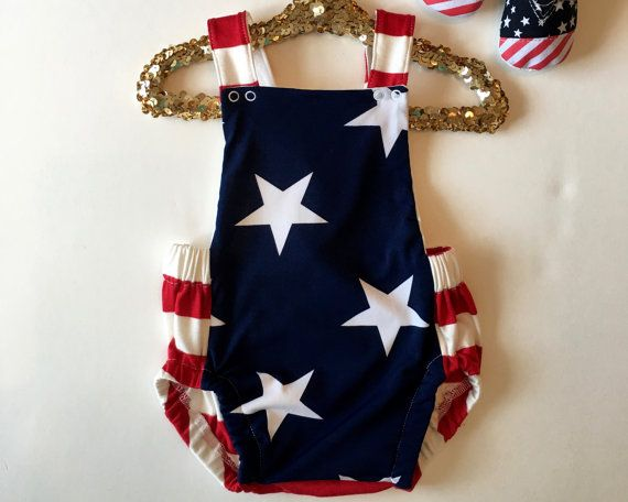 fbed9d06a36e Patriotic Baby Romper - Red White and Blue Baby Romper - Unisex Baby Romper  - Baby Bubble Romper - Baby Boy or Girl Romper - Baby Whimsy