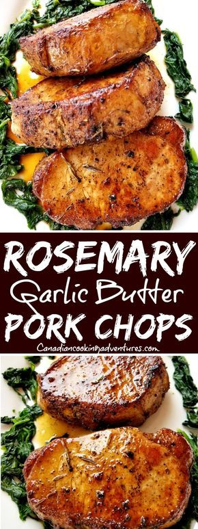 Rosemary Garlic Butter Pork Chops Rosemary Garlic Butter Pork Chops % #meatrecipes