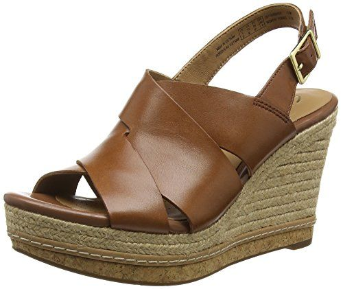 Clarks Amelia Dally, Damen Slingback Sandalen mit Keilabsatz, Braun (Nutmeg  Leather),
