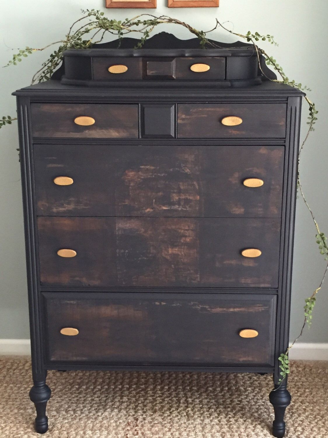 Tall Boy Black & Papered Vintage Dresser •Free Shipping