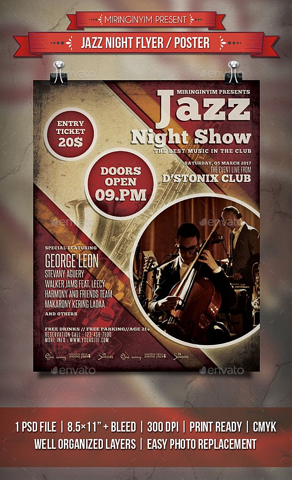 Jazz Night Flyer  Poster  Jazz Fonts And Festivals