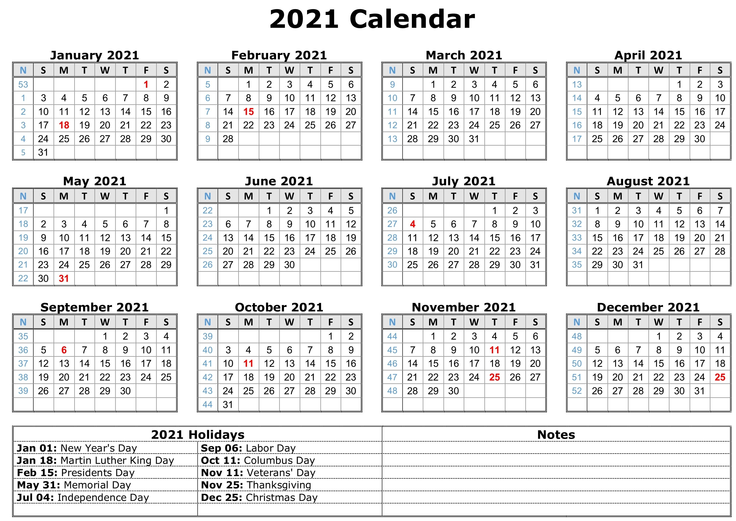 2021 Calendar with Holidays | Calendar template, Free printable