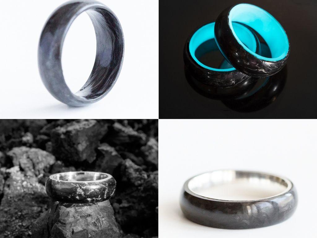 Carbon 6 wedding rings
