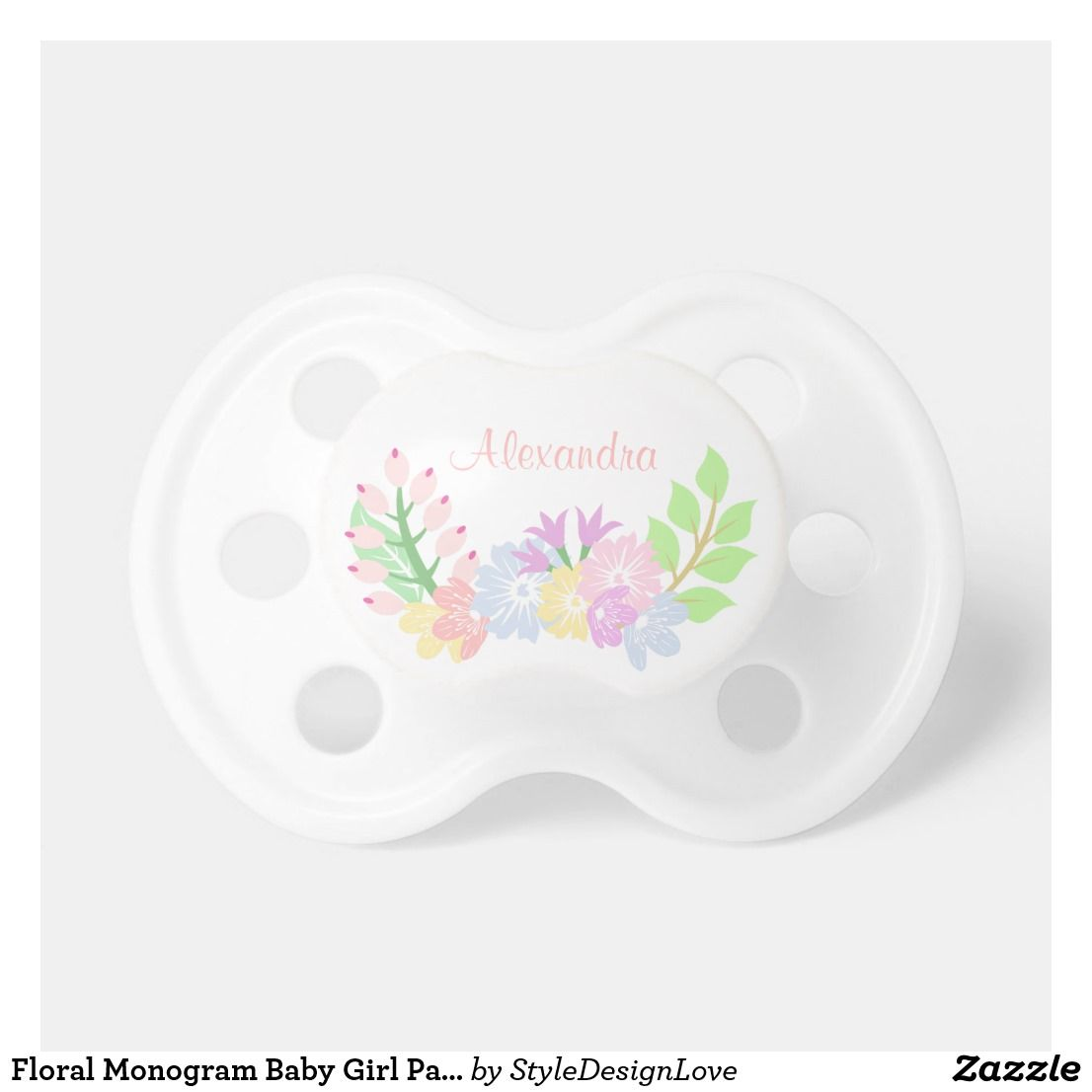 8a135476c Floral Monogram Baby Girl Pacifier - Floral Monogram Pacifier. Sweet floral  wreath with roses,
