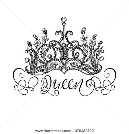 Elegant hand drawn queen crown with lettering graphic black and white illustration