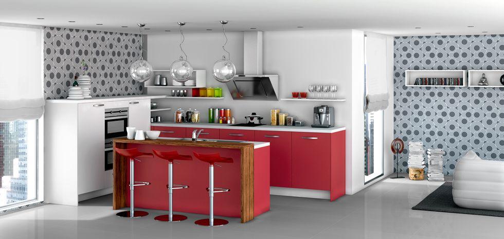 Cuisine Ouverte En 2020 Meuble Cuisine Teisseire Cuisine Rouge
