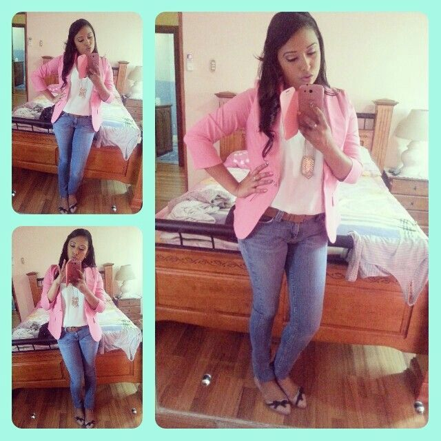 Pink blazer outfit...