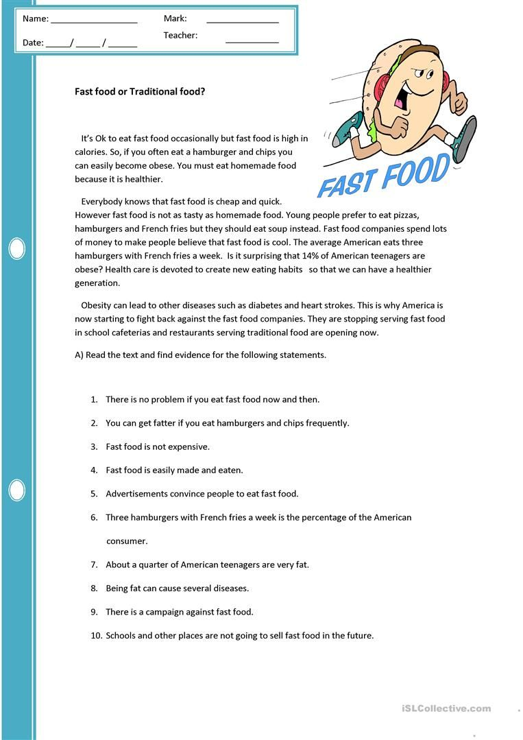 Fast Food Or Traditional Food Reading Worksheets 7th Grade Reading Reading Comprehension Worksheets [ 1079 x 763 Pixel ]