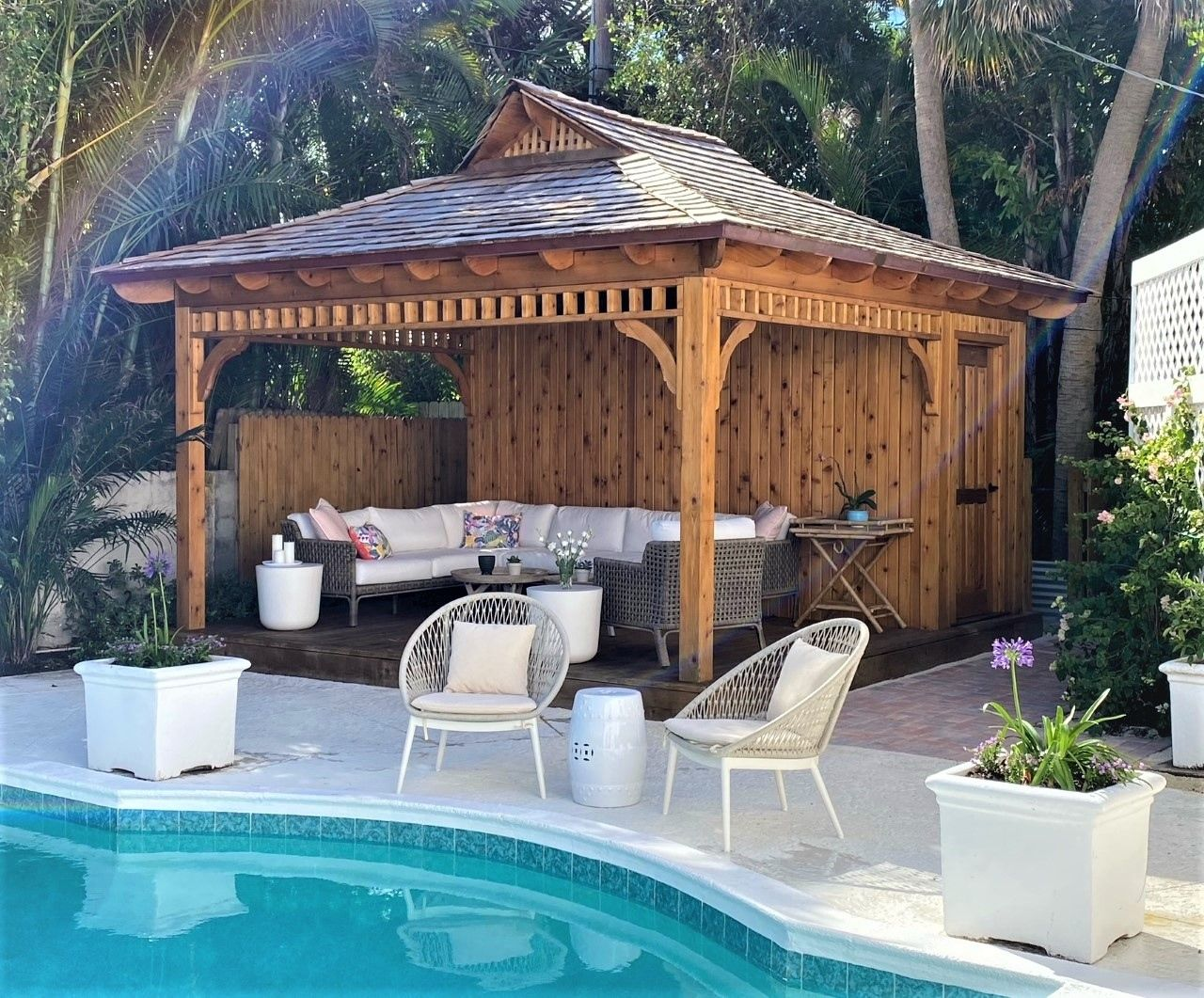 Bali Tea House Pool Cabana In 2021 Pool Houses Tea House Backyard Backyard pool house bar ideas