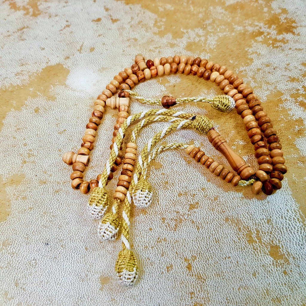 Olive Wood Tasbih with West African Tassel (6 x 3 mm Beads