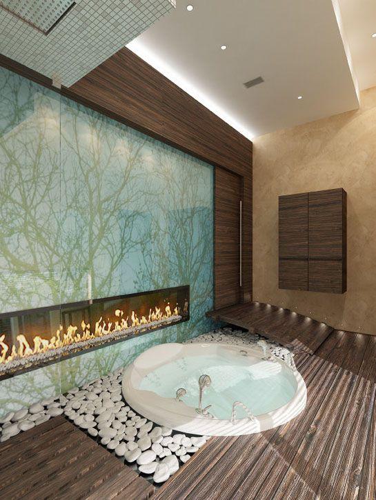 Glass Wall Art Sunken Jacuzzi Bath Houseplans Pinterest