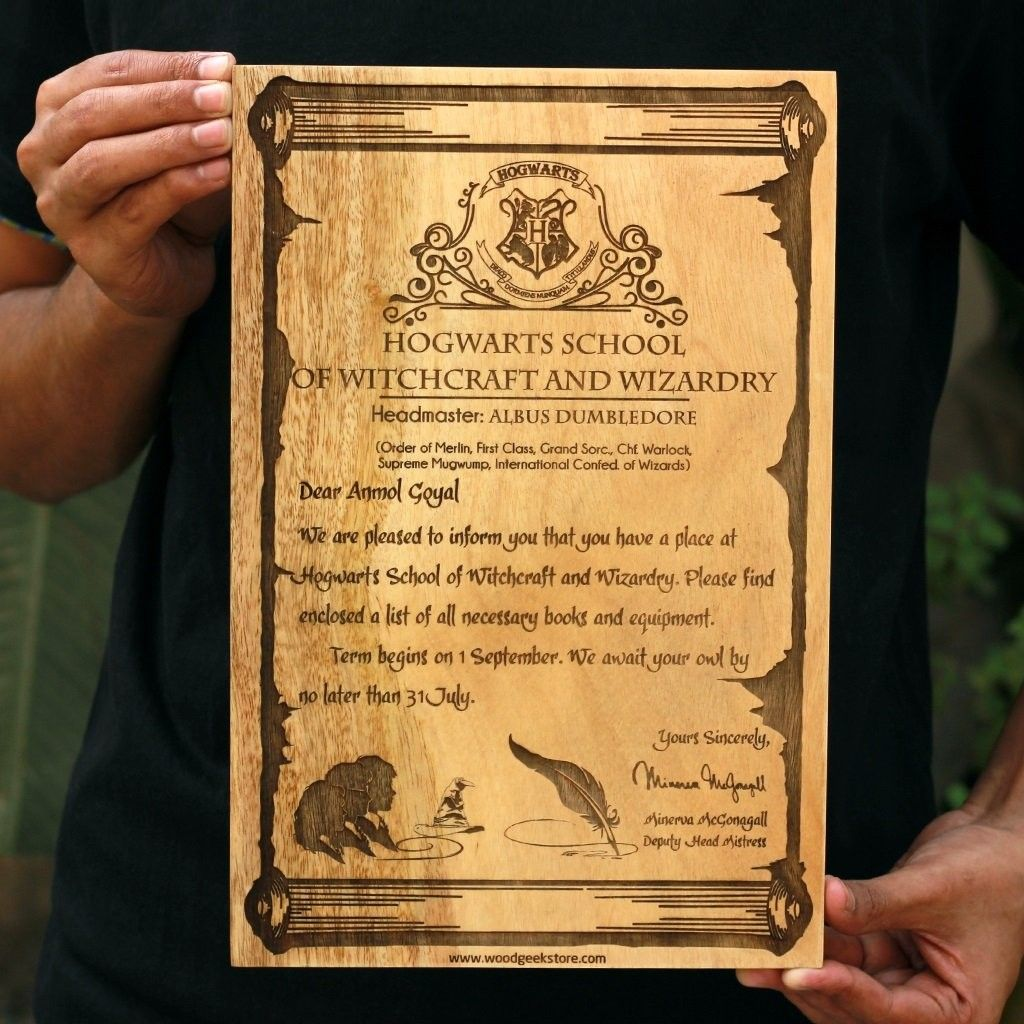 Harry Potter Carved Wooden Hogwarts Acceptance Letter