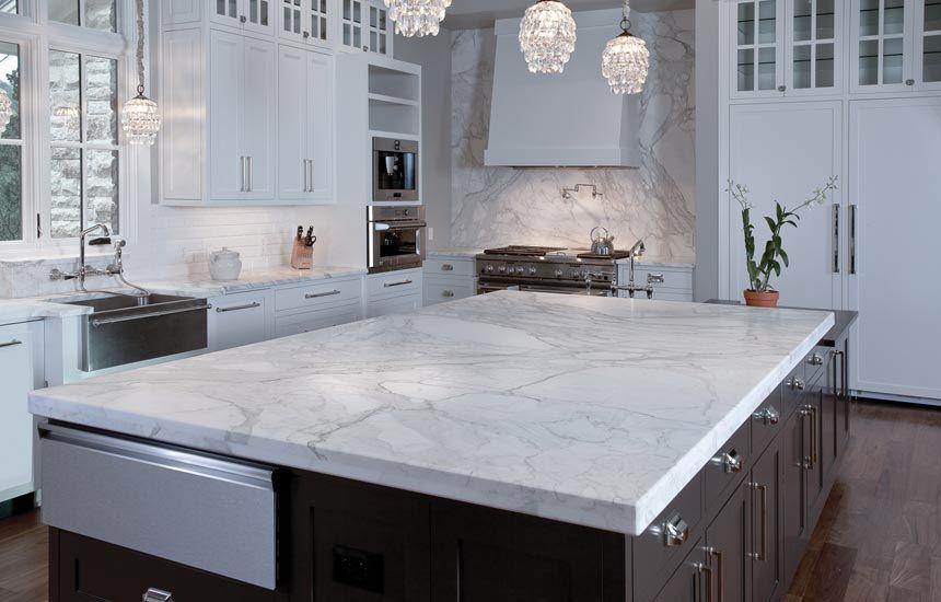 White Carrera Marble Kitchen Countertops