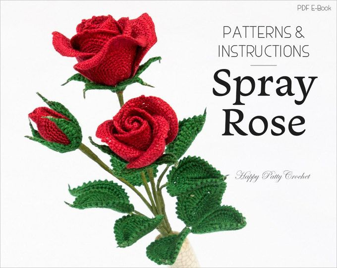 Inside youll find a crochet pattern diagram for a rose flower applique, this crochet rose is very versatile and fun to make. Designed to work as an appliqué for many types of projects - from a brooch and hair flower to bag or hat appliqué. The crocheted Rose works surprisingly well on a stem as well, and can be used in flower arrangements and bouquets :) The crochet pattern includes diagram, instructions in American Standard Terms (In English language), and step-by-step guides with photos...
