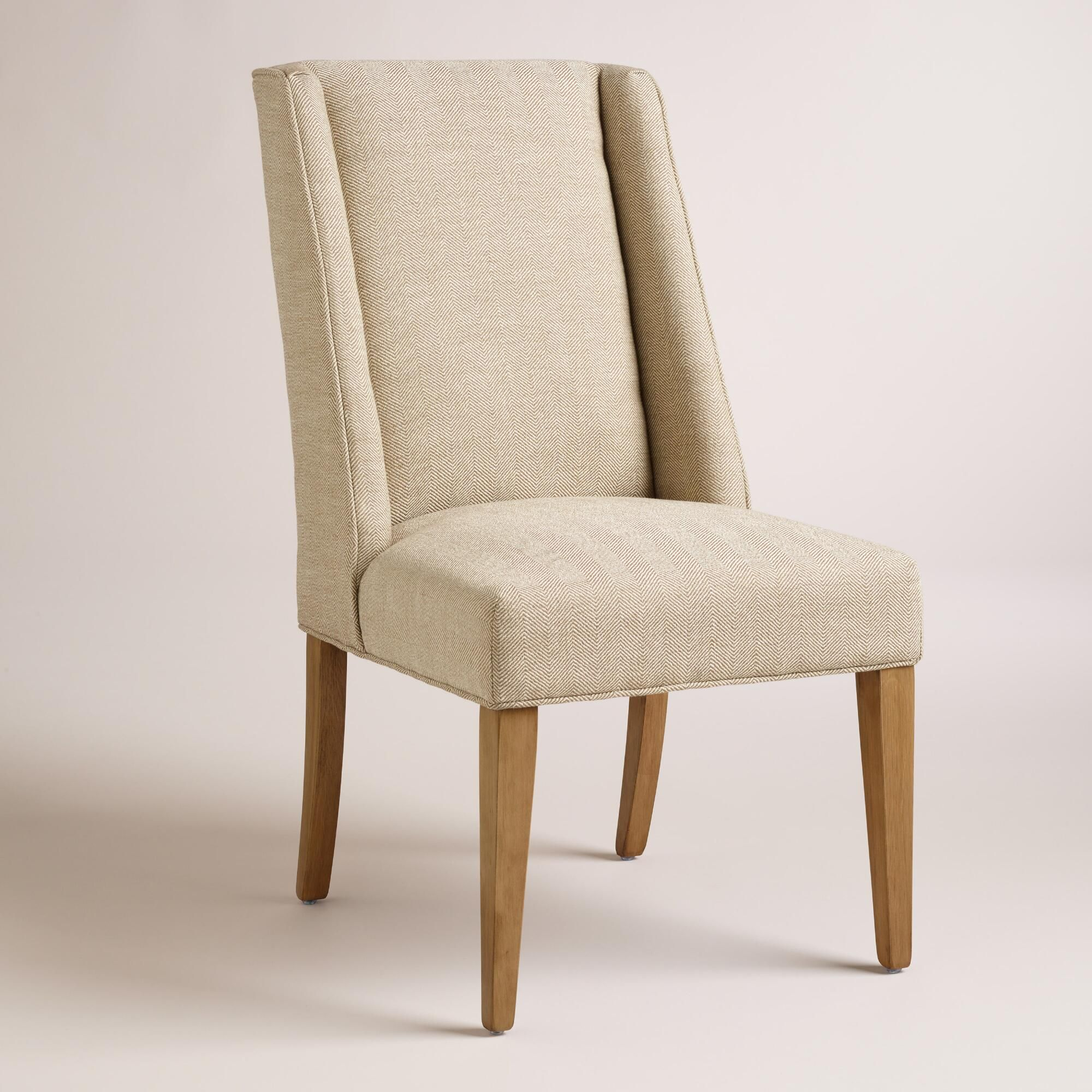 world market dining room chairs | Covered in neutral beige herringbone fabric, our handsome ...