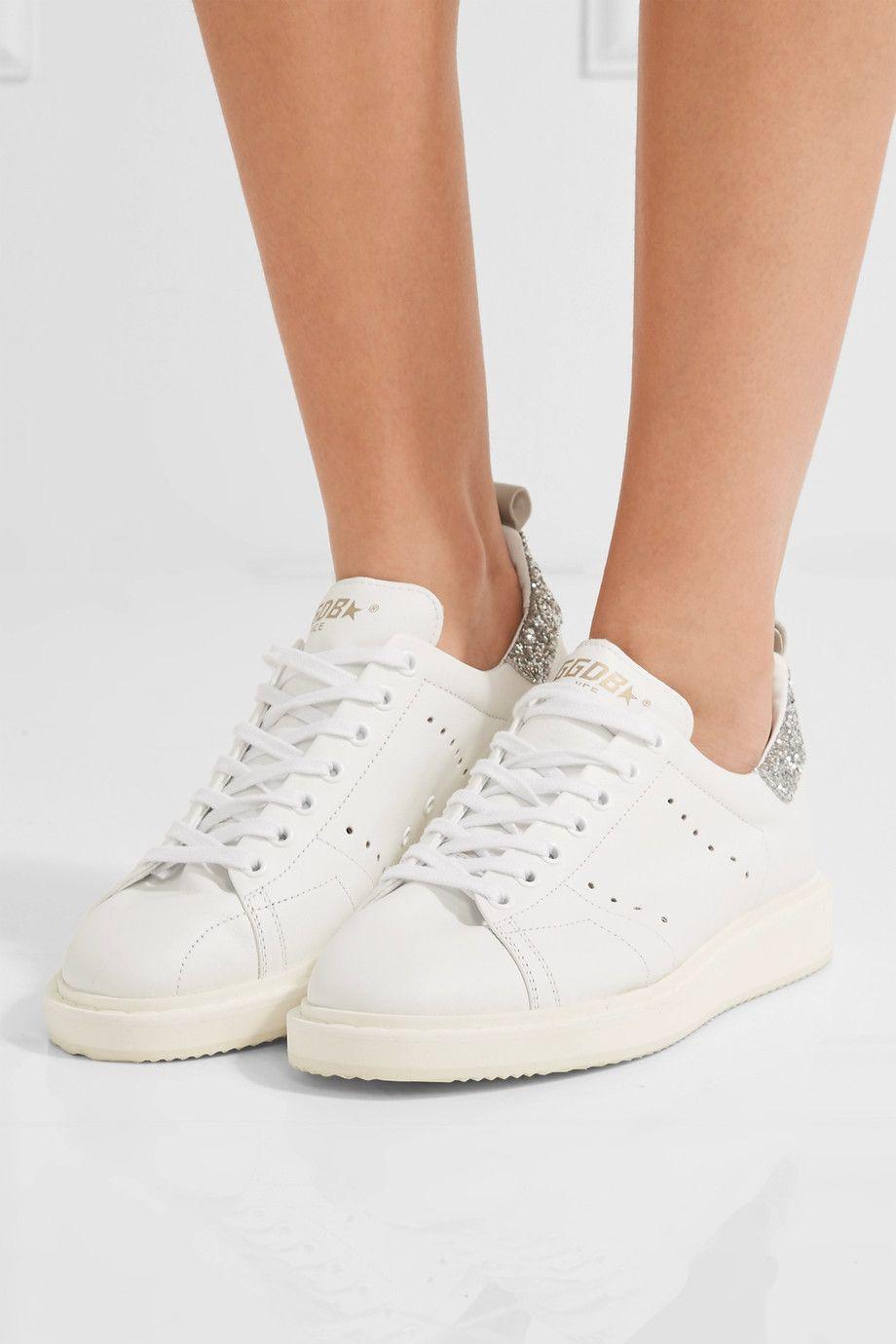 White Starter glitter-trimmed leather