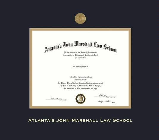 atlantas john marshall law school diploma frame with medallion and black and gold double mat and gold embossing approximate frame size 21 x 24 inches - Diploma Frame Size