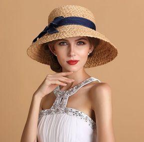 9275188c55d Bow straw sun hat for women summer wear