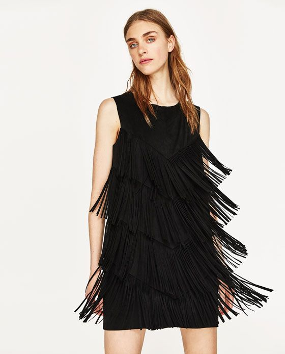 443122a228a Image 2 of FAUX SUEDE DRESS WITH FRINGE from Zara
