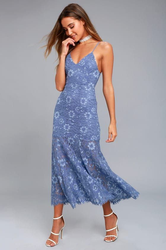 a3fa46634ef1 Show them you came to stun in the NBD Brielle Denim Blue Lace Midi Dress! A  sexy V-neckline (and adjustable straps) tops a fitted bodice with princess  seams ...