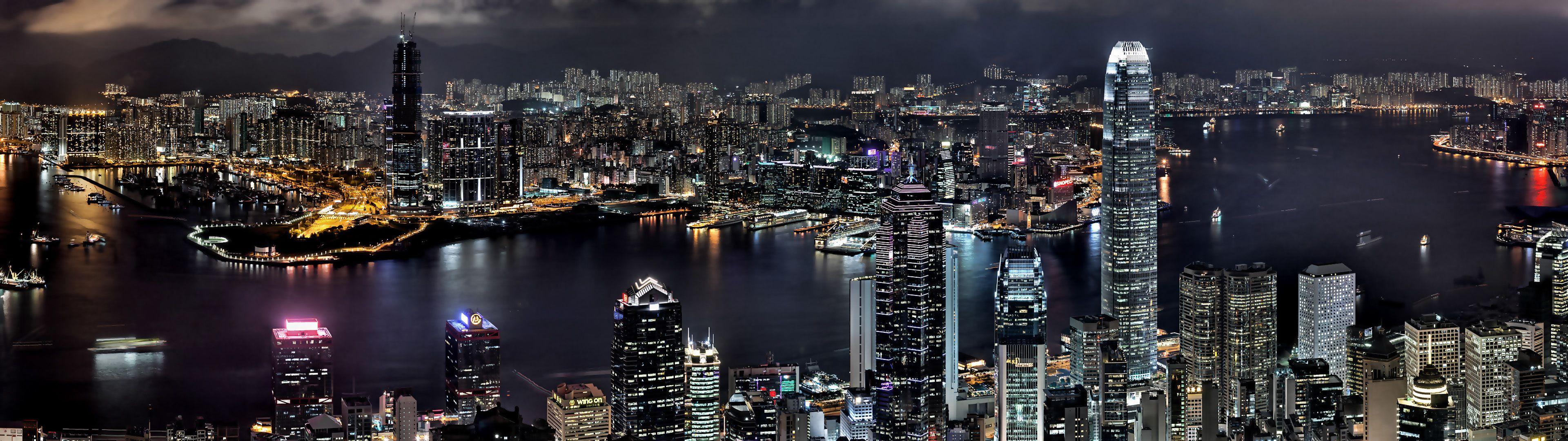 Cityscapes Night Buildings Hong Kong Wallpaper 3840x1080 61374 Dual Monitor Wallpaper Dual Monitors 3840x1080 Wallpapers