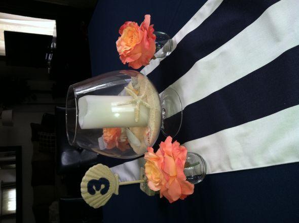 Nautical Beach Themed Table Linens And Centerpiece Wedding Blue C Diy Navy Reception Runner Photo 4