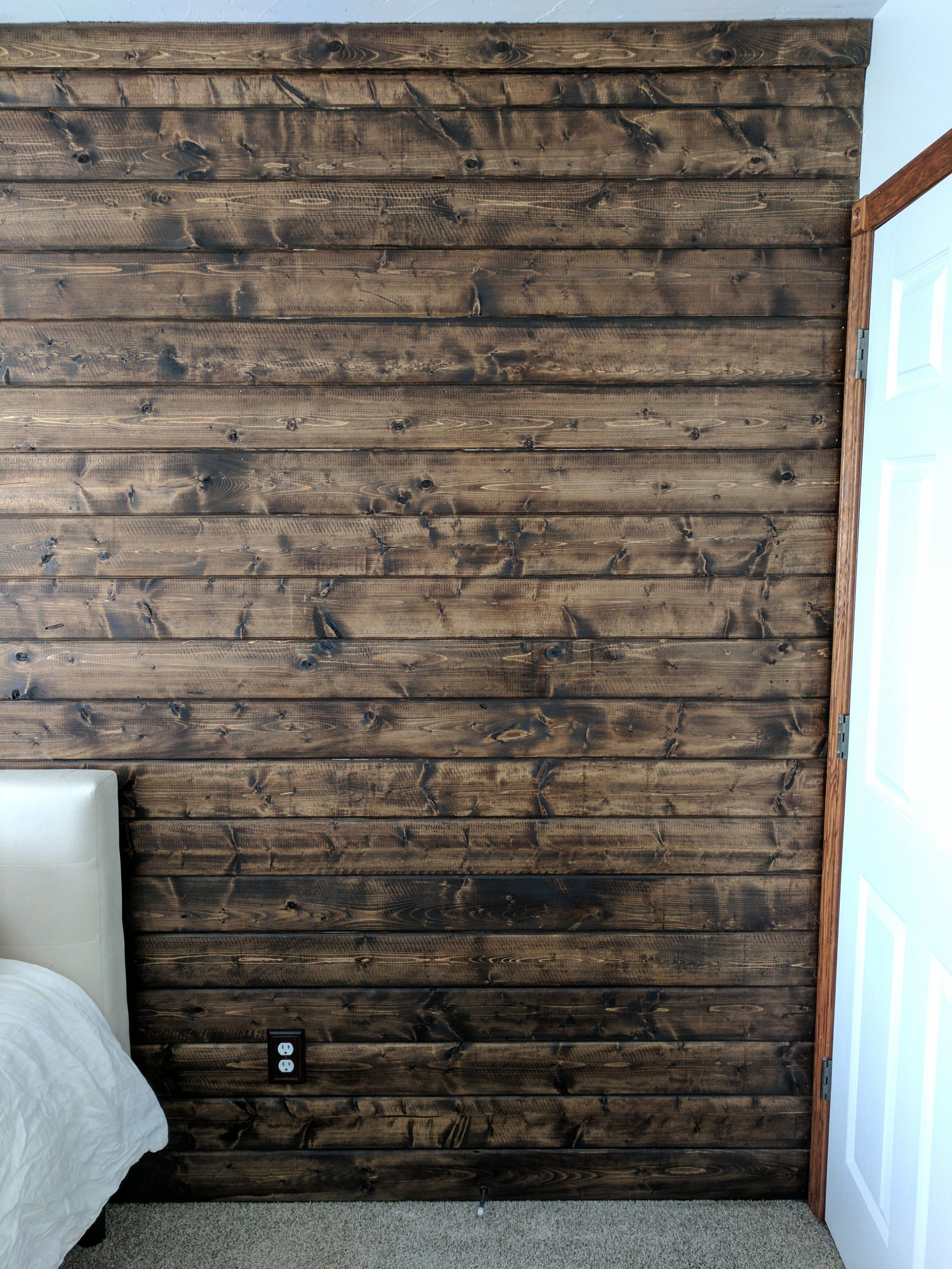 How To Diy A Wood Plank Accent Wall Wood Walls Living Room Wood Wall Bathroom Wooden Accent Wall