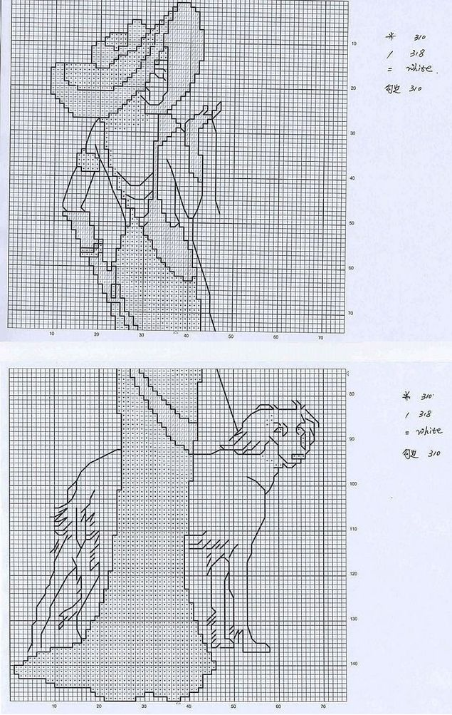 0 point de croix femme élégante et lévrier - cross stitch elegant lady and greyhound 4