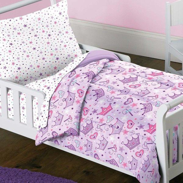 Best Stars Crown Purple Pink Princess 4 Piece Toddler Bedding 400 x 300