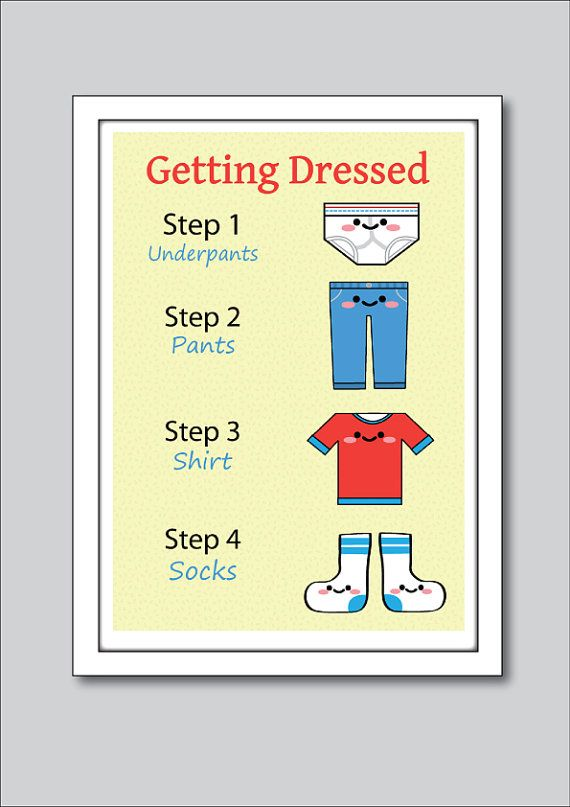 Getting Dressed - Childrens Kawaii Help Poster - 8x10 Childrens Wall ...