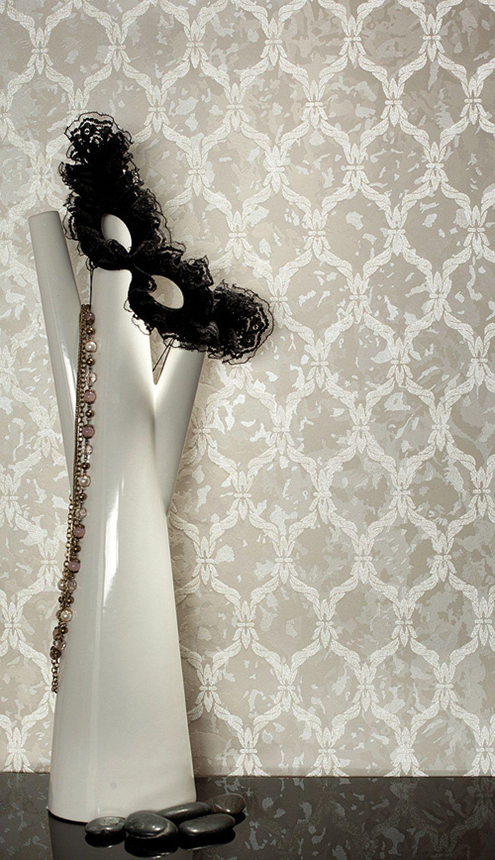 Luxustapete Stil Wall-silk Iv Muster Barock Tapete Grau Weiss ... Grau Weiss Beige