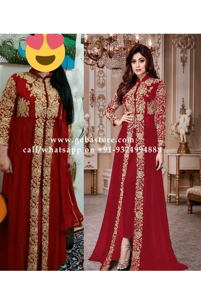 0fce26509cda Shamita Shetty Red Color Gorgeous Embroidered Georgette Fabric Attractive  Bollywood Stylish Look Traditional Occasionally Party Wear Designer Pant  Style ...