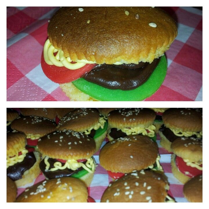Hamburger cupcakes for my son his birthday party
