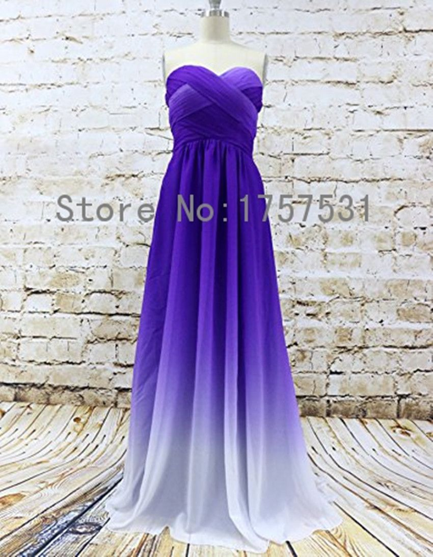 $80 Real Picture Purple Ombre Sweetheart Prom Dresses Plus Size ...